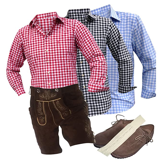 Trend-Promotion Austria - Traje de marrón plattler - Pantalones de piel camisas Guantes haferl Calcetines portador Echtleder Hombre: Amazon.es: Ropa y ...