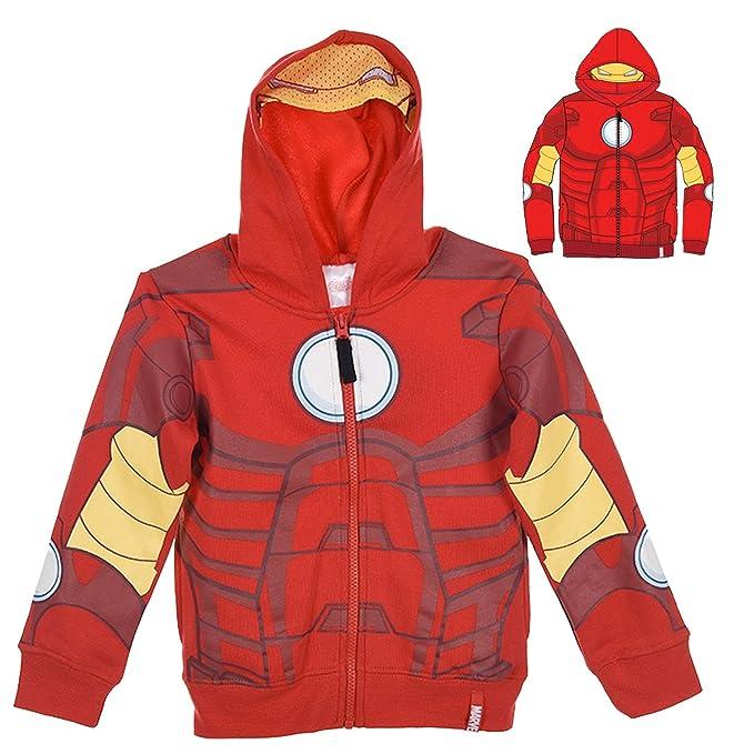 8388c219ff1d53 Felpa con Zip e Cappuccio con Maschera - Supereroi Spider-Man Captain  America Iron Man