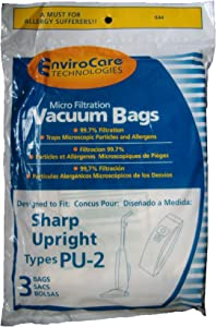 3 Sharp Style PU-2 Microfiltration Upright Vacuum Cleaner Bags