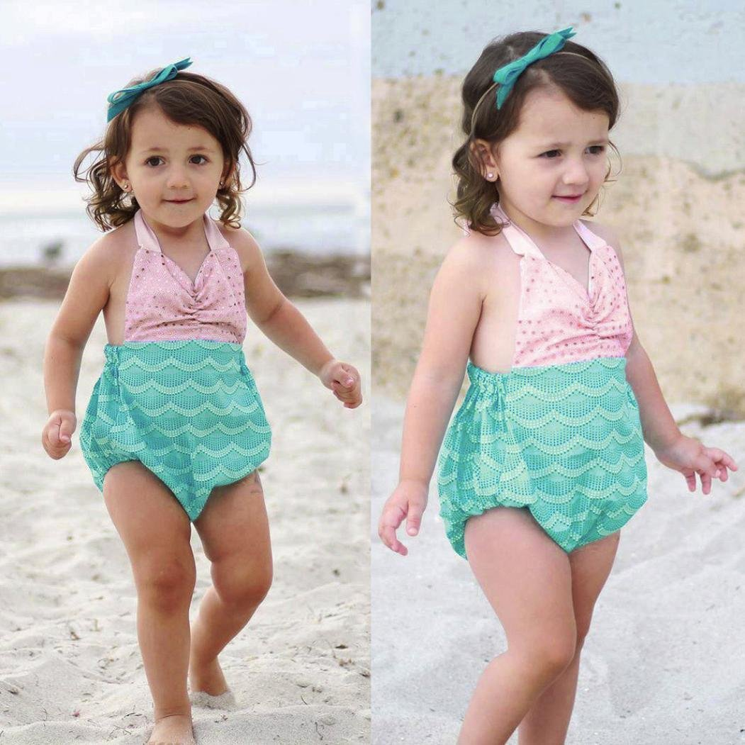 a6effadb8a Amazon.com: Vovomay Baby Girl Straps Sequins Swimsuit Cute Bikini Ruffles  Sleeve Swimsuits Bathing Suits for Toddler Girls: Clothing