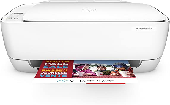 HP DeskJet 3634 Compact All-in-One Wireless Printer with Mobile Printing, on