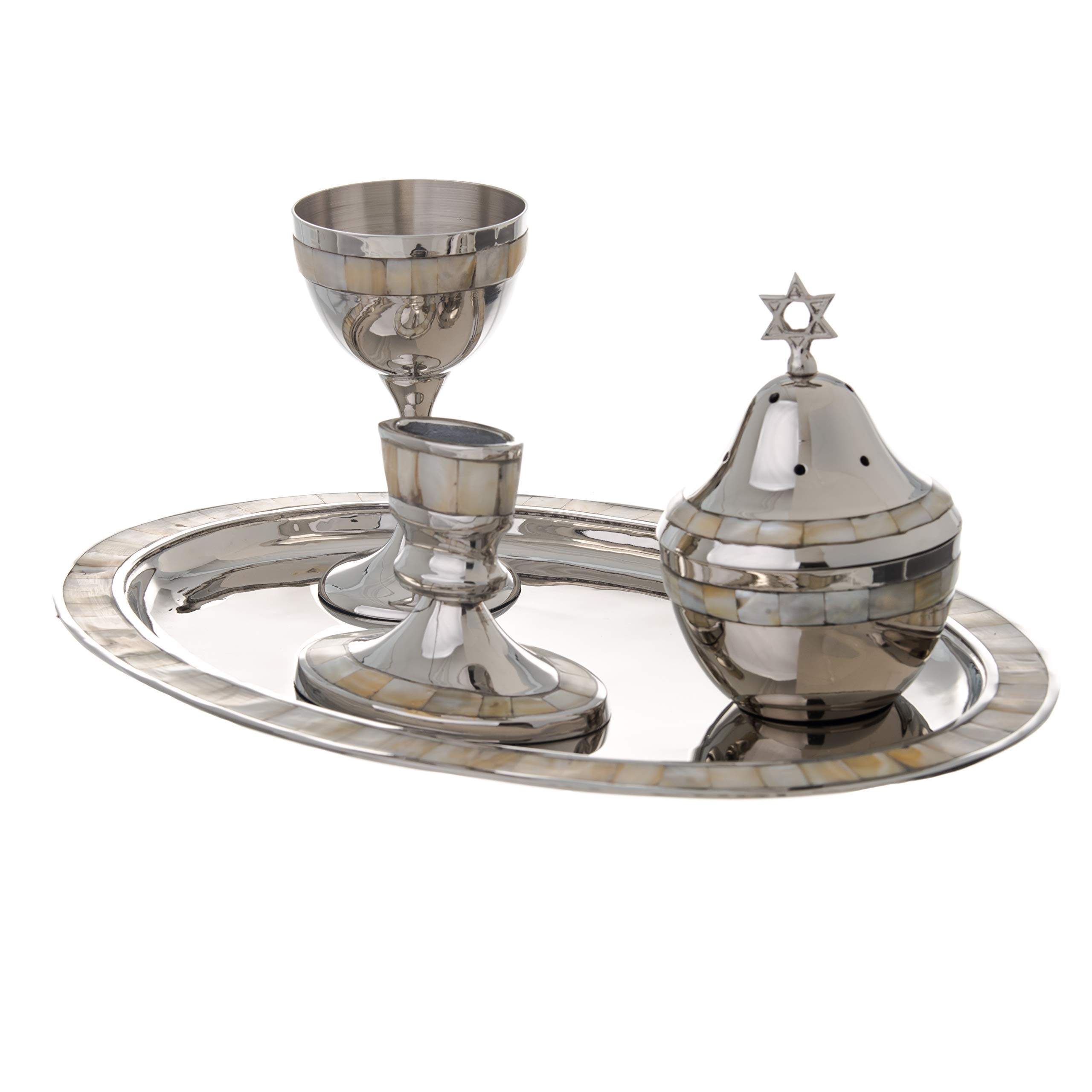 Highly Polished Non-Tarnishing Metal Havdalah Set with Mother of Pearl Design by copa