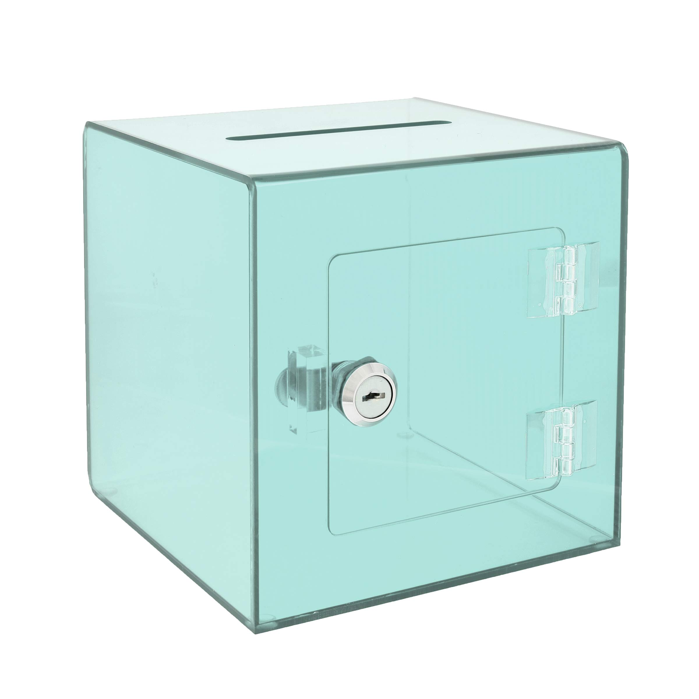 AdirOffice 6'' x 6'' Acrylic Ballot Box Donation Box with Easy Open Rear Door - Durable Acrylic Box with Lock - Ideal for Voting, Charity & Suggestion Collection - Crystal Green