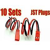 10 Paar JST BEC Stecker/Buchse mit Kabel 200mm Schwarz Rot in Modellbau