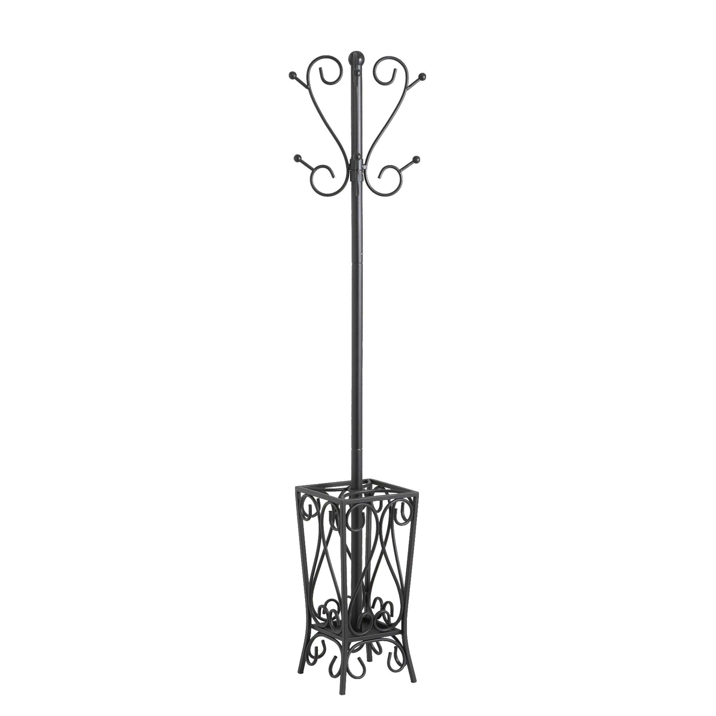 Southern Enterprises Metal Scrolled Coat Rack and Umbrella Stand 69''Tall in Black Finish