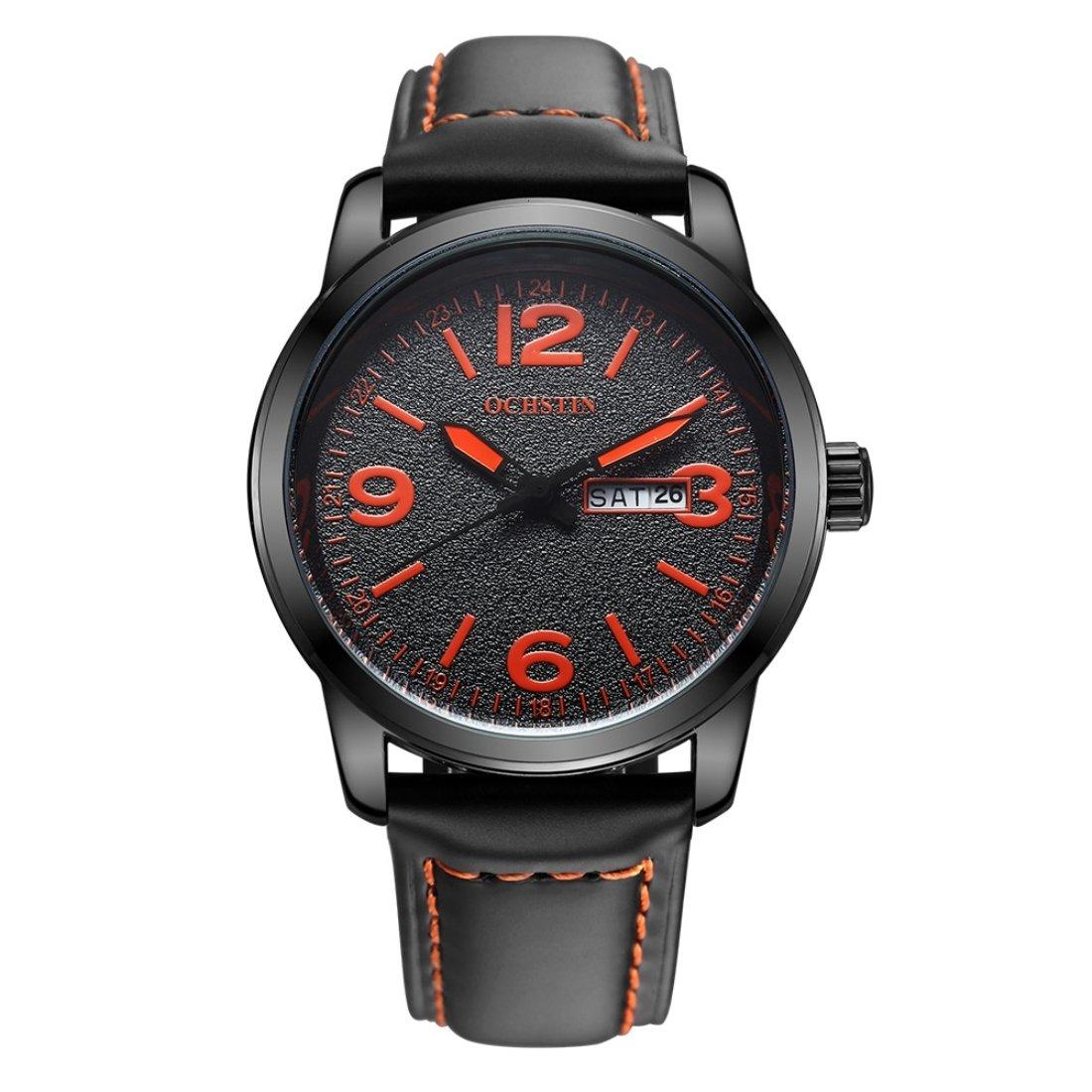 Dig dog bone Round Luminous Display Dual Calendar Display Men Quartz Watch with Genuine Leather Band (SKU : WA0701BE)