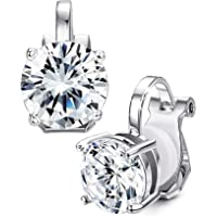 f1e89233c Sllaiss Clip On Earrings for Women Girls Non Pierced Round Solitaires Set Halo  Earring with Swarovski