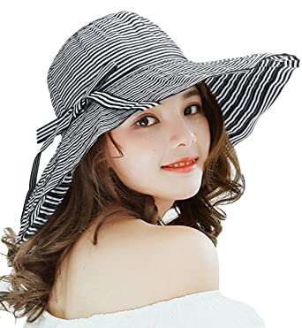 09e9f921 Superora Lady's Summer Sun Hat Women Floppy Wide Brim Stripes Pattern  Foldable Adjustable Beach UPF50 Hats