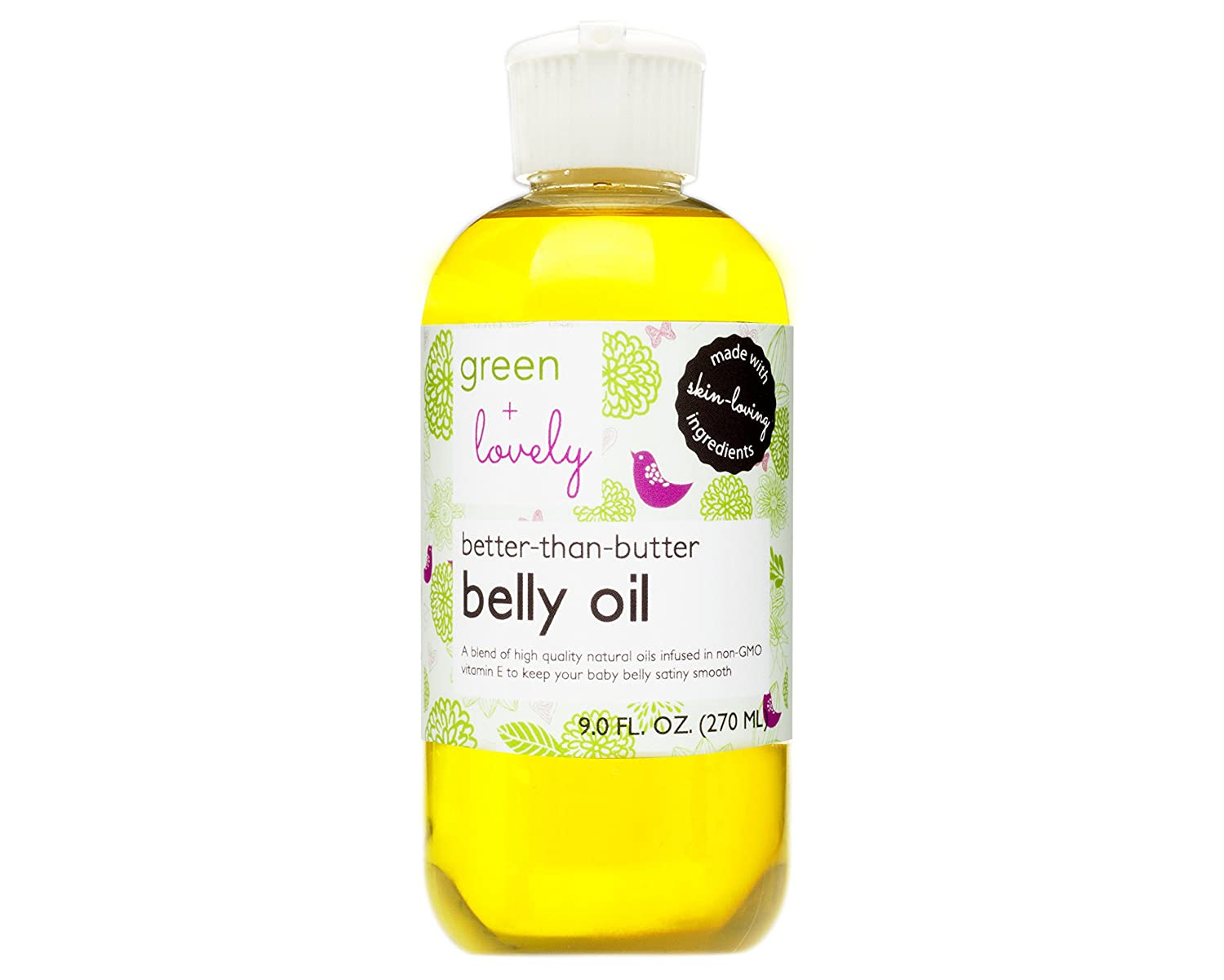 Better than Butter Belly Oil by Green + Lovely - Tangerine Orange Scent, 9 fl oz. Pregnancy Aromatherapy Oil enhanced with Vitamin E to prevent Stretch Marks and Skin Elasticity