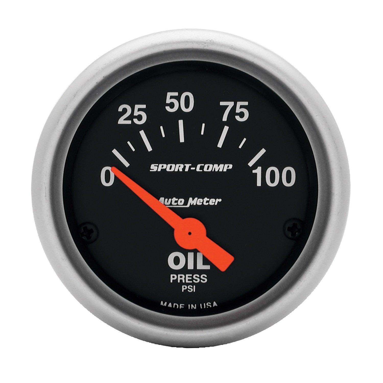 Auto Meter 3327 Sport-Comp Electric Oil Pressure Gauge by AUTO METER
