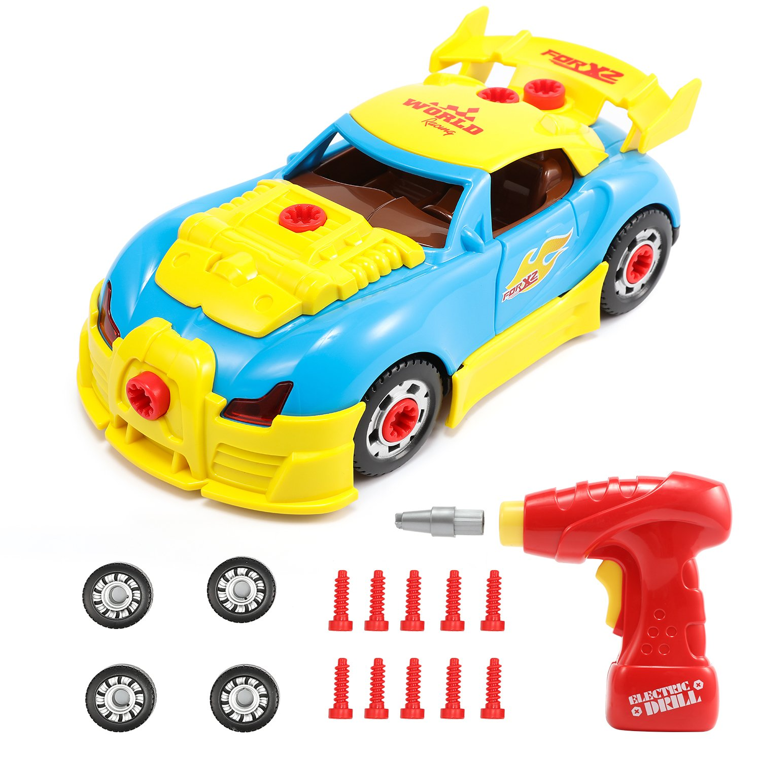 Magicfly Take Apart Car with Tool Drill, Take-A-Part World Racing Car Toy for Kids of ages 3+, 30 Pieces