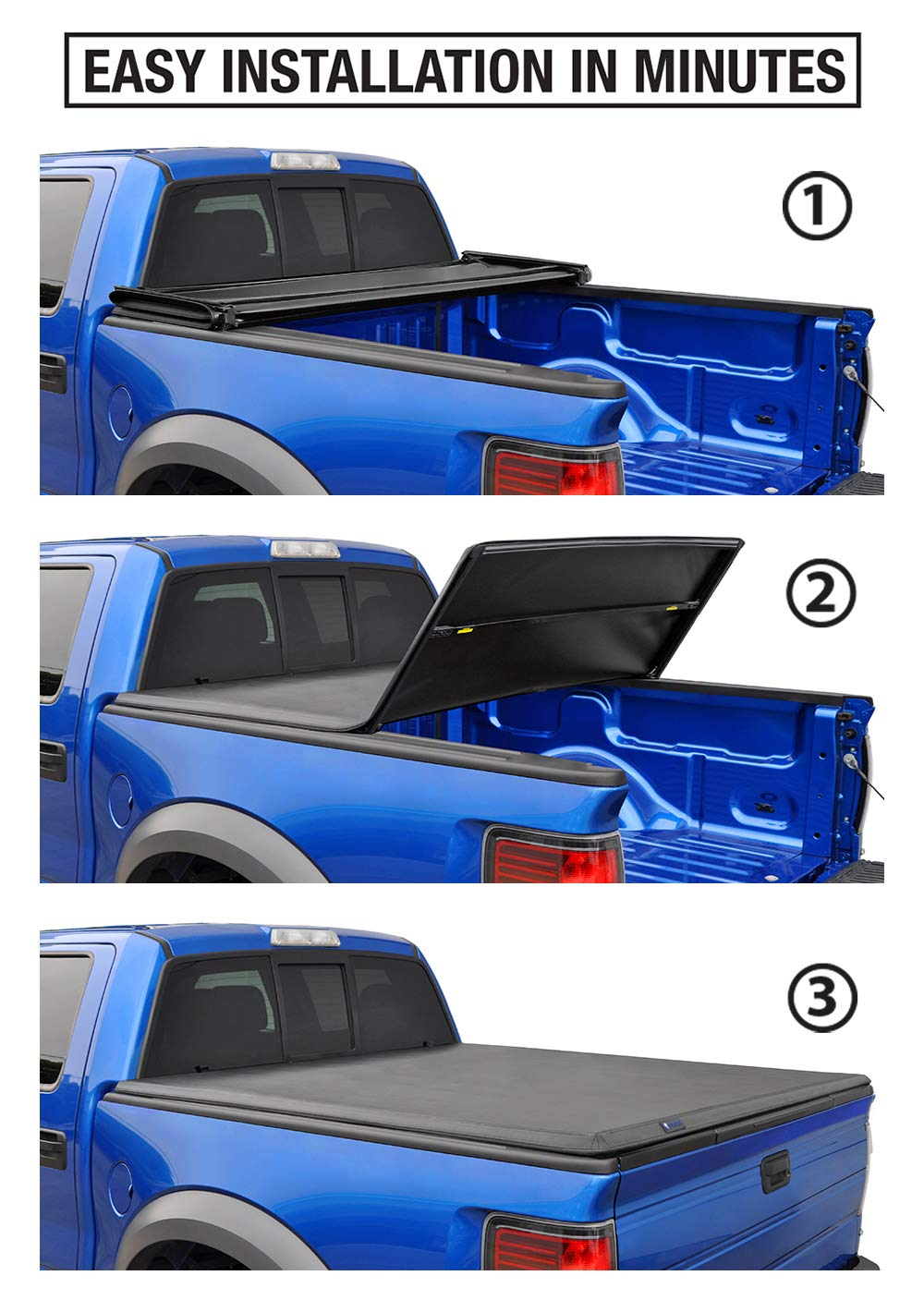 Tyger Auto T3 Tri-Fold Truck Bed Tonneau Cover TG-BC3C1003 Works with 2007-2013 Chevy Silverado//GMC Sierra 1500 Excl. 2007 Classic Fleetside 5.8 Bed