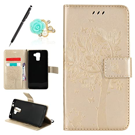 Uposao Kompatibel mit Huawei Honor 7 Handyhülle Schutzhülle Handytasche Lederhülle Flip Tasche Case Leder Hülle Schmetterling