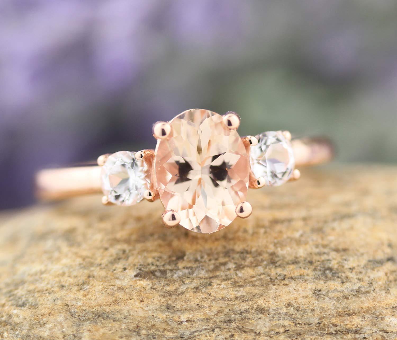 Rose Gold Ring  14k Rose Gold Single Natural White Topaz Engagement Ring Gemstone Ring Stacking Natural Stone Ring  Gift For her