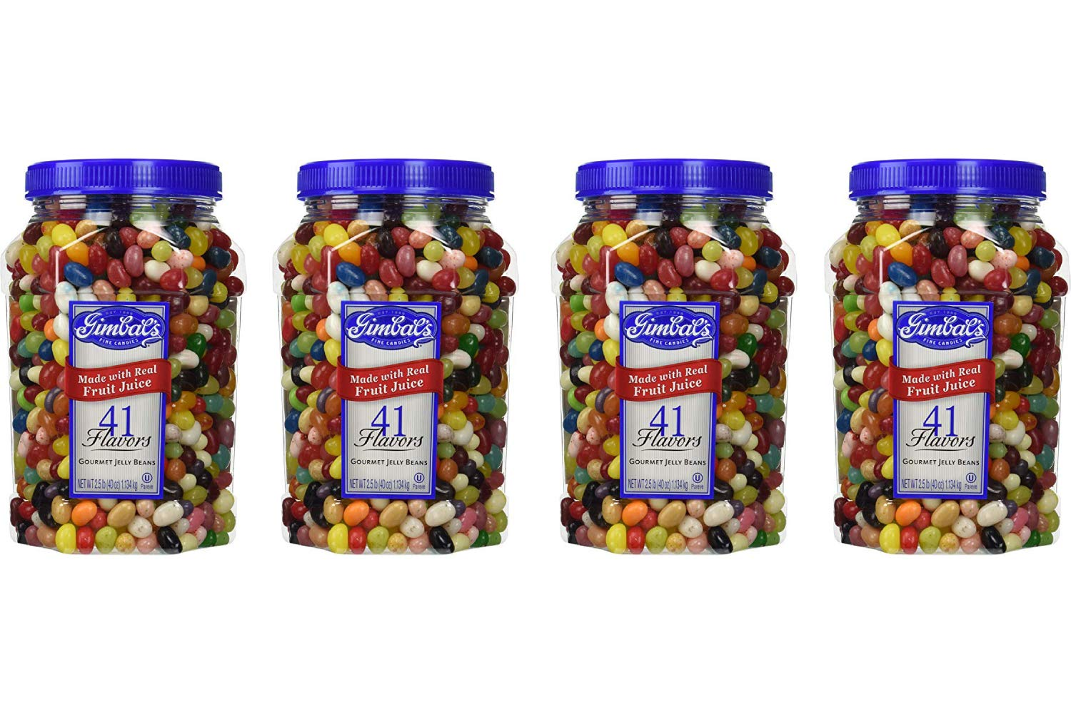 Gimbal's Fine Candies Gourmet Jelly Beans, 41 Flavors, 40-Ounce Jar (4 Pack)