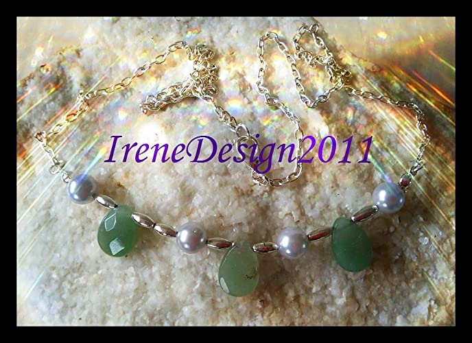 Silver Necklace with Facetted Green Aventurine Drops & Pearls