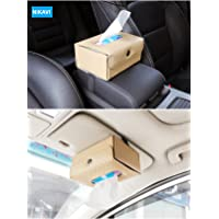 NIKAVI Car Sun Visor Tissue Case Napkin Holder Clip (Beige)