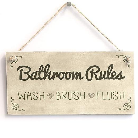 Hunnry Bathroom Rules Letrero de Placa de Madera Carteles de ...