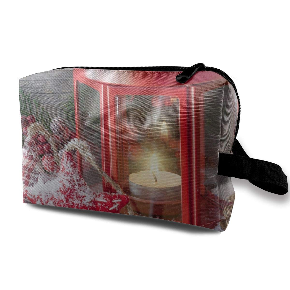 Candle Christmas Cold Frost Frozen Ice Lamp Red Season Snow Stars Multi-function Travel Makeup Toiletry Coin Bag Case