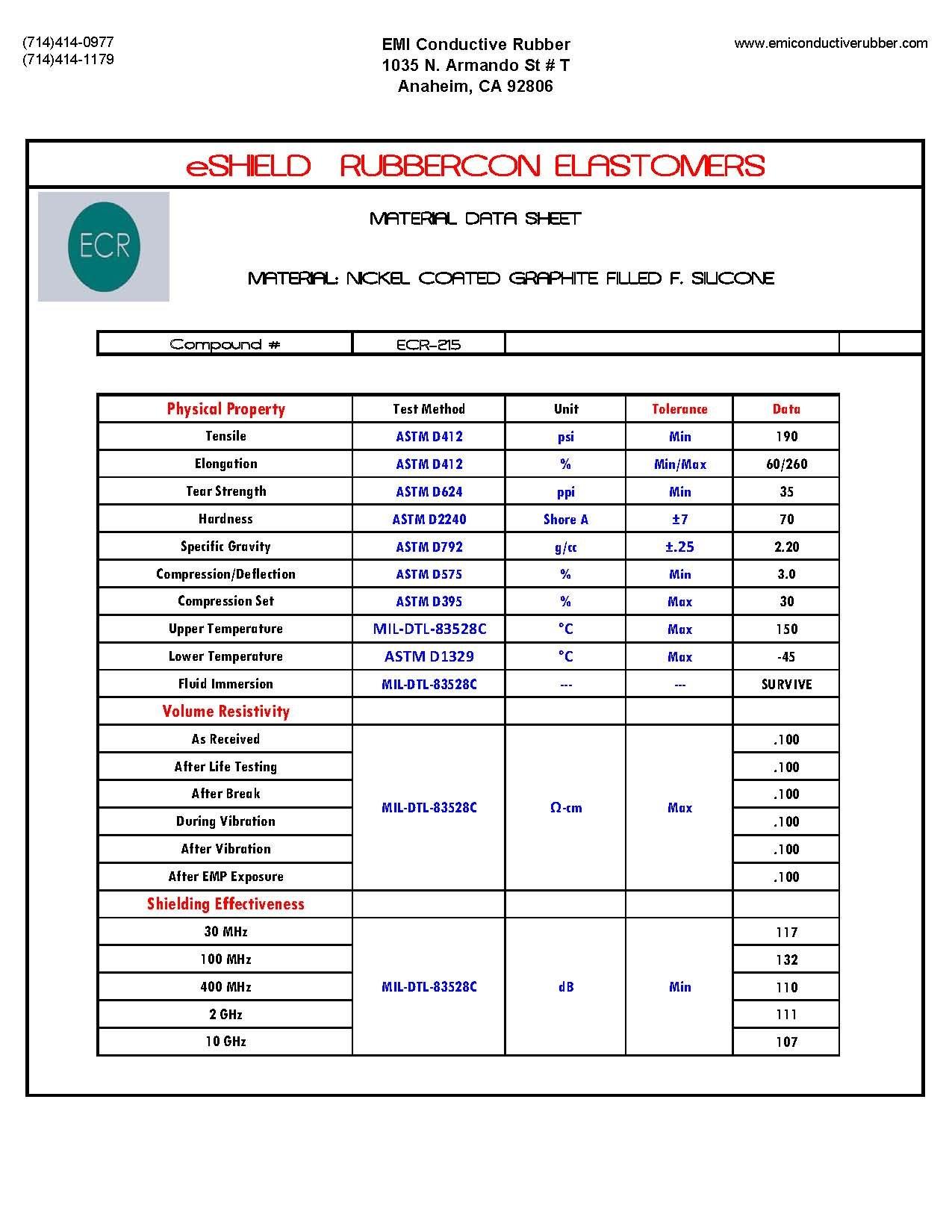 .250 O.D Solid Cord - Ni/C F. Silicone (ECR-215) by eShield RubberCON