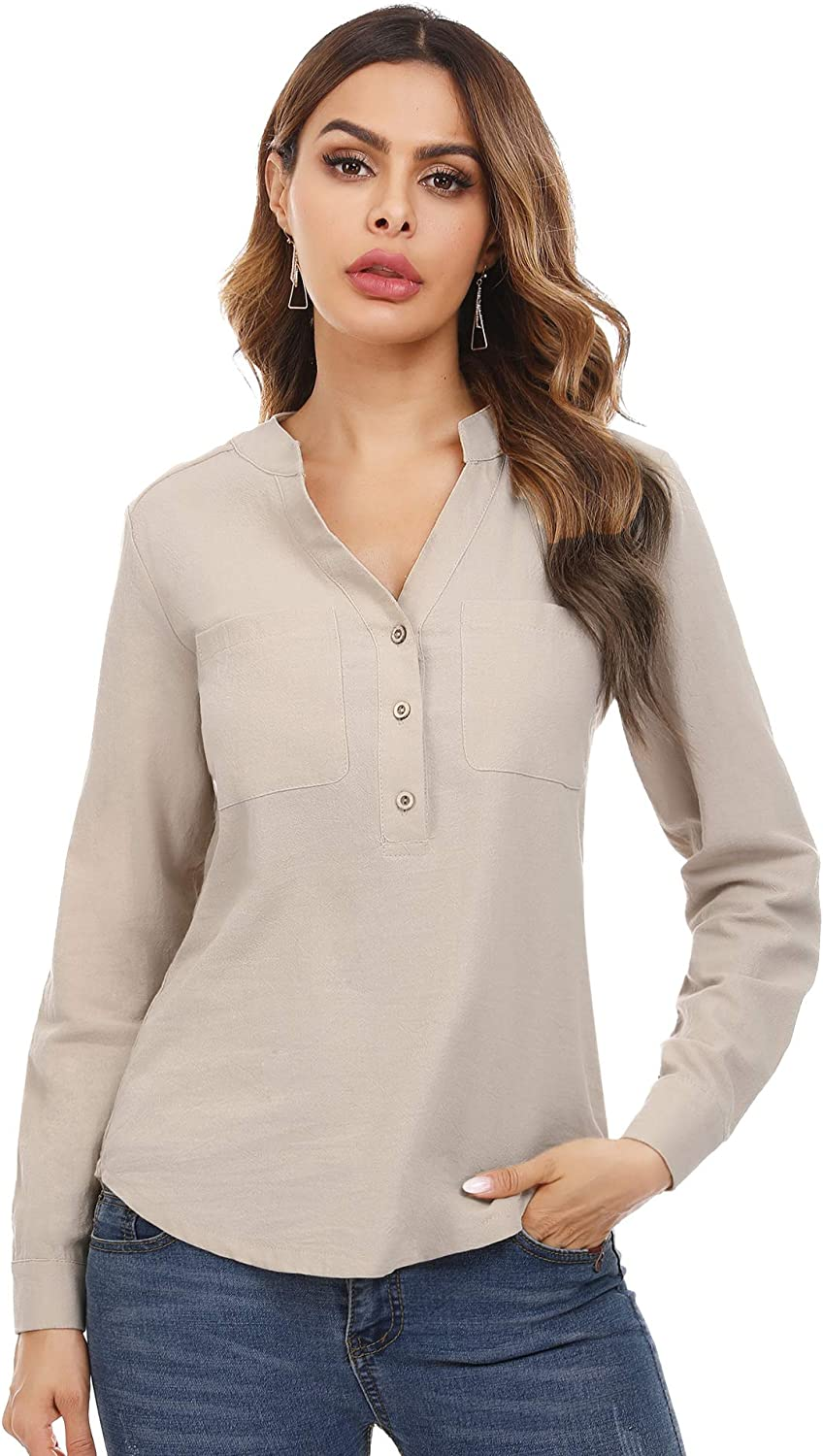 Irevial Women's Notch Neck Long Sleeve Henley Shirts Button Up Tunic Blouses with Pocket