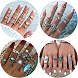 45Pcs Boho Knuckle Rings Set Turquoise Gemstone Vintage Stackable Finger Rings Midi Ring for Women Hollow Carved Flowers Gold