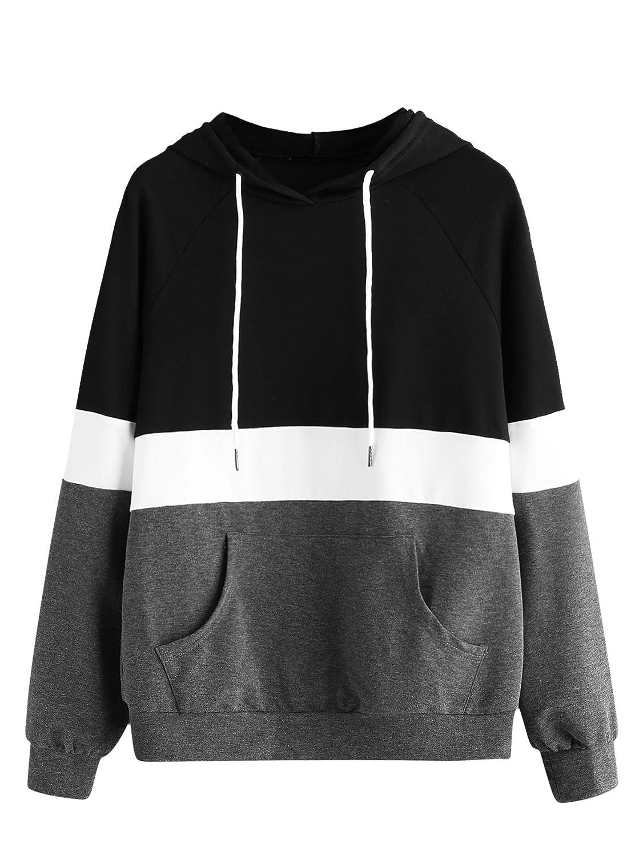 Black Grey DIDK Women's Hoodies Long Sleeve Splice 3 color Hooded Sweatshirt
