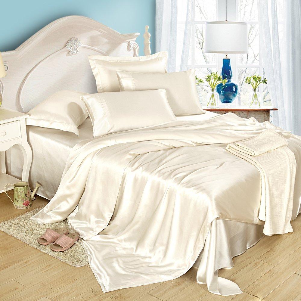 LilySilk Bettwäsche Set 3 teilig Bettwäsche Bettbezug Kissenbezug mit Stehsaum 80x80+5cm Seide von 19 Momme Elfenbein 200x220cm