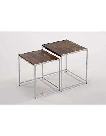 Nesting furniture Patio Set Of Chrome And Walnut Nesting Tables Side End Snack Table Amazoncom Nesting Tables Amazoncom