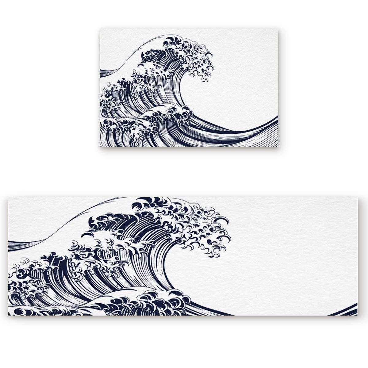 23.6x35.4in+23.6x70.9in Simple Design Door mat 2 Piece Set, Line Japanese Style Wave Spindrift Doormat Rug,Decorative Felt Floor Mat with Non-Skid Backing,Fit for Indoor,Kitchen,Bedroom (23.6x35.4in+23.6x70.9in)