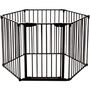 Costzon Baby Safety Gate, 4-in-1 Fireplace Fence, Wide Barrier Gate with Walk-Through Door in Two Directions, Add/Decrease Panels Directly, Wall-Mount Metal Gate for Pet & Child, Door (Black, 6-Panel)