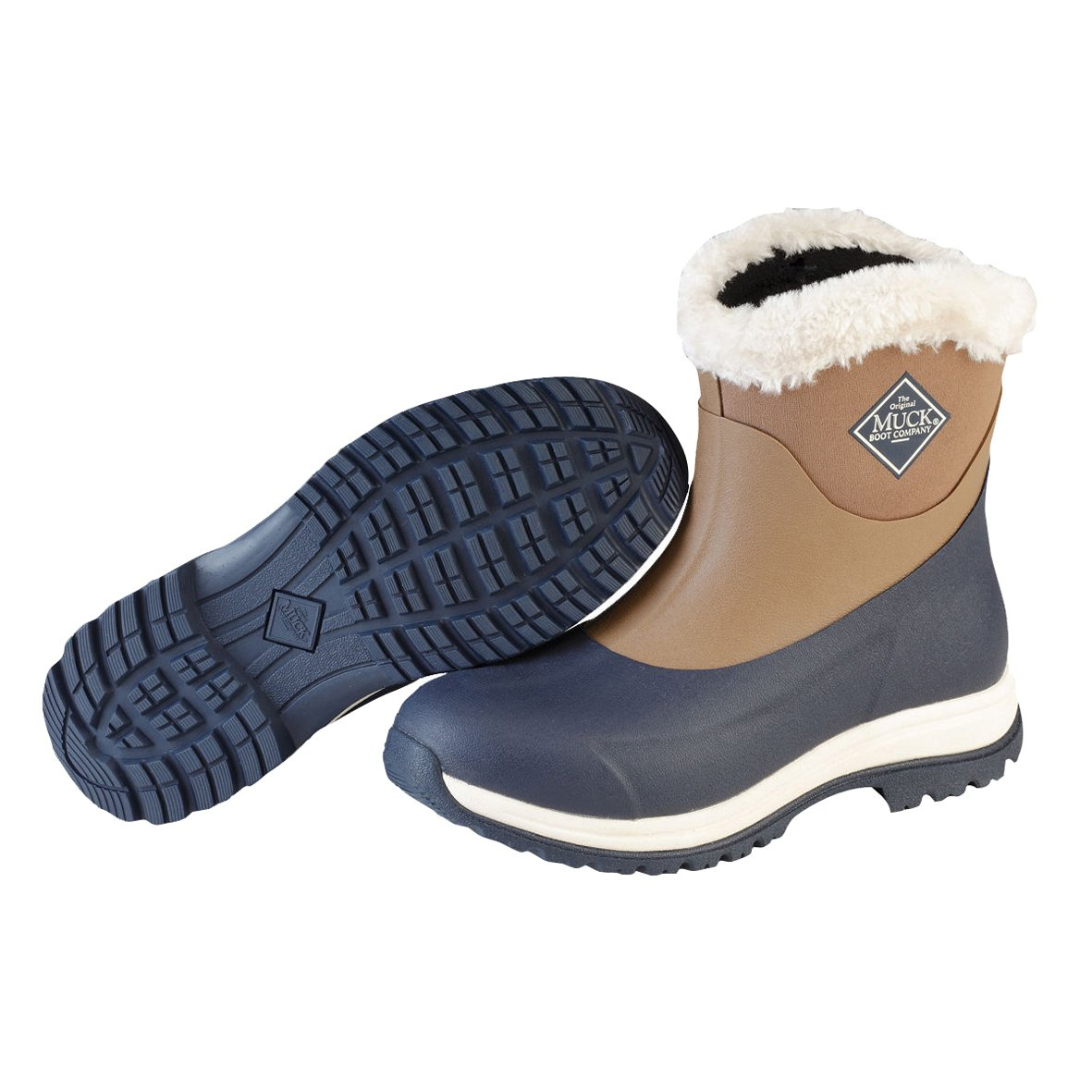 Muck Arctic Après Mid-Height Casual Slip-On Rubber Women's Winter Boots B01FO655I6 9 B(M) US|Otter, Navy/Fog