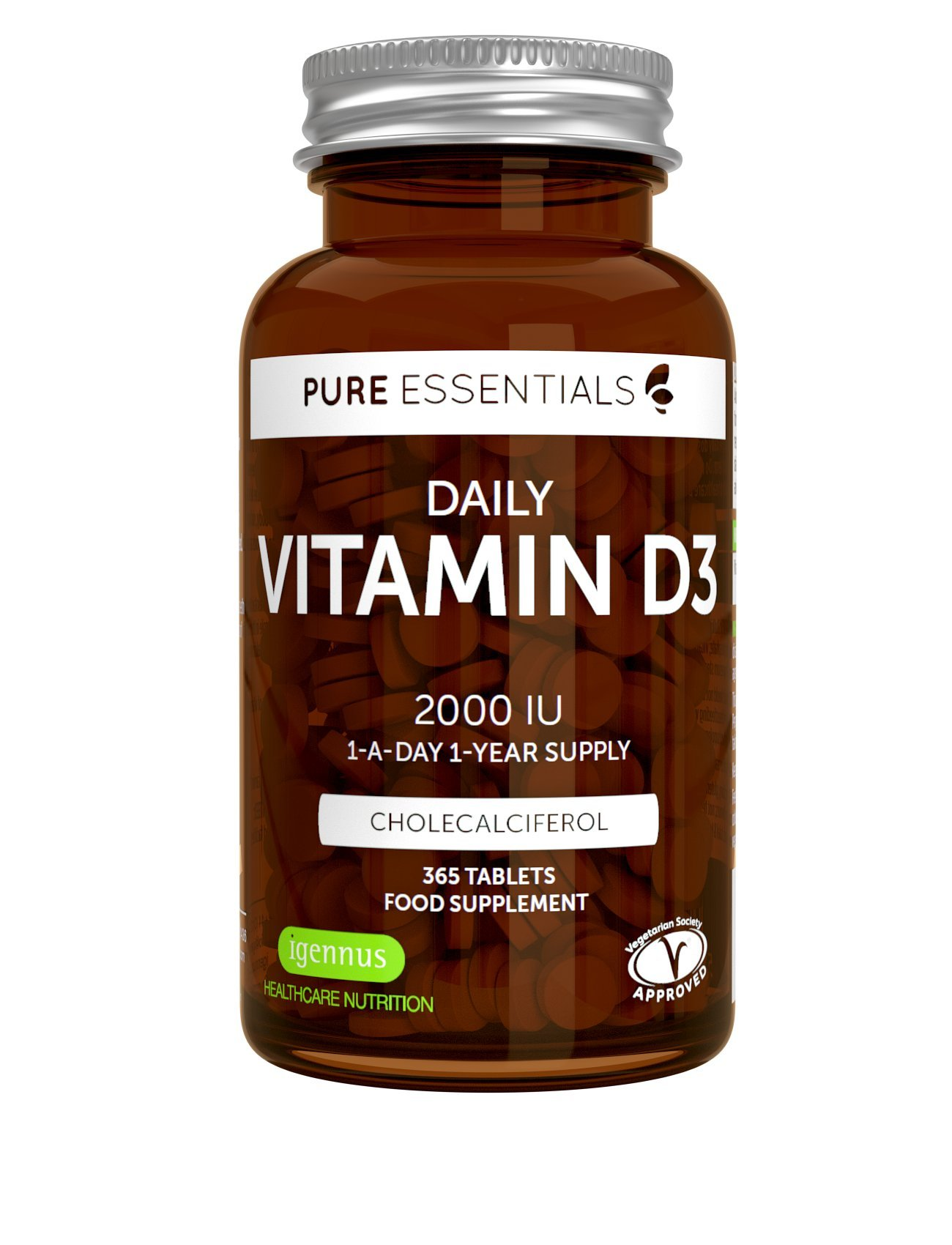 Pure Essentials Daily Vitamin D3 2000iu, 1-Year Supply, Vegetarian, 365 Small Tablets product image