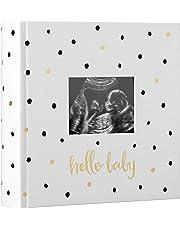 Pearhead Pearhead 'Hello Baby' Baby Photo Album, White/Black and Gold Polka Dot
