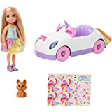 Barbie Club Chelsea Doll (6-inch Blonde) with Open-Top Rainbow Unicorn-Themed Car, Pet Puppy, Sticker Sheet & Accessories, Gi