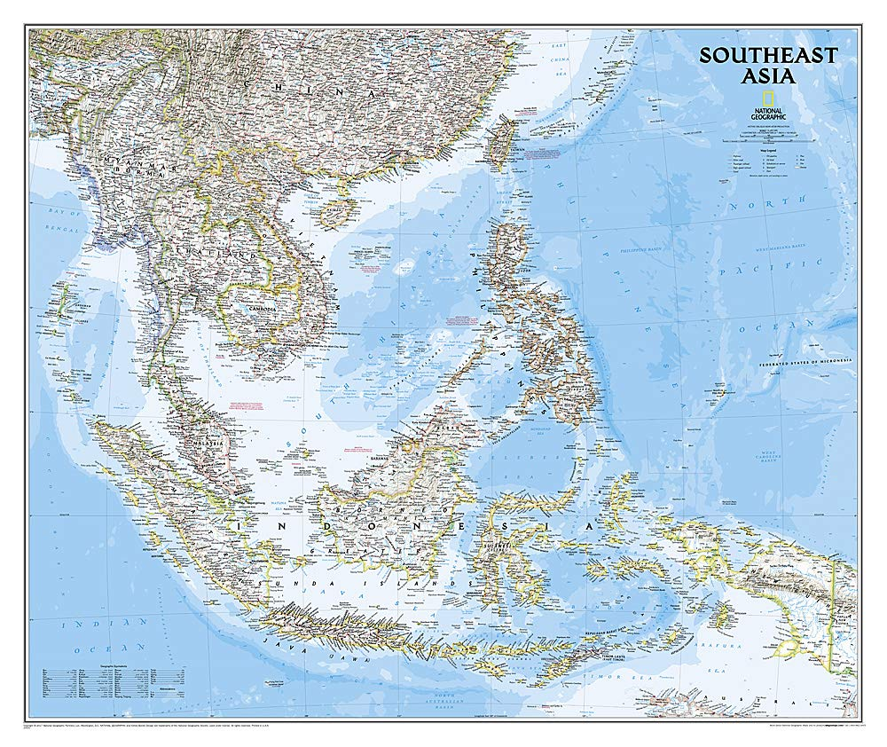 Southeast Asia Classic Wall Maps Countries Regions National Geographic Maps 0749717103184 Books Amazon Ca