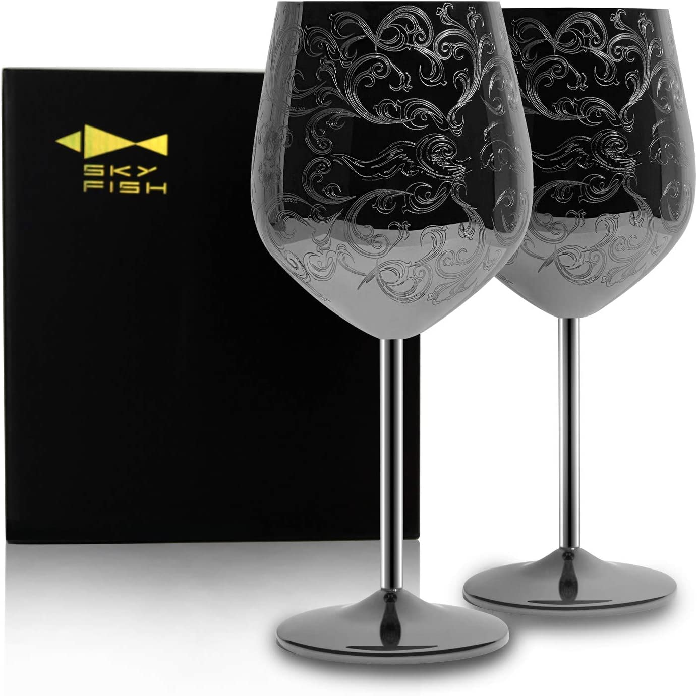 SKY FISH Stainless Steel Wine Glasses With Black Plated ,etched with intricate and authentic baroque engravings,Royal style wine goblets,Set of 2(17oz)