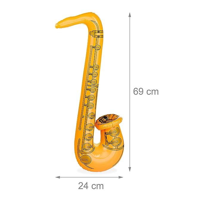 Relaxdays Saxofón Juguete Hinchable, multicolor, 69 cm ...