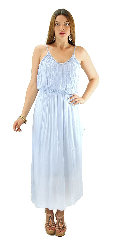 #679 Damen Kleid Viskose Maxikleid Spitze Trägerkleid Sommerkleid 36 38 40 Einheitsgrösse