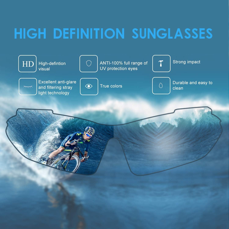 Carfia Gafas de Sol Deportivas para Hombre y Mujer Gafas de Sol Polarizadas Protecci/ón UV400 Gafas Proteccion con 5 Lentes Cambiable