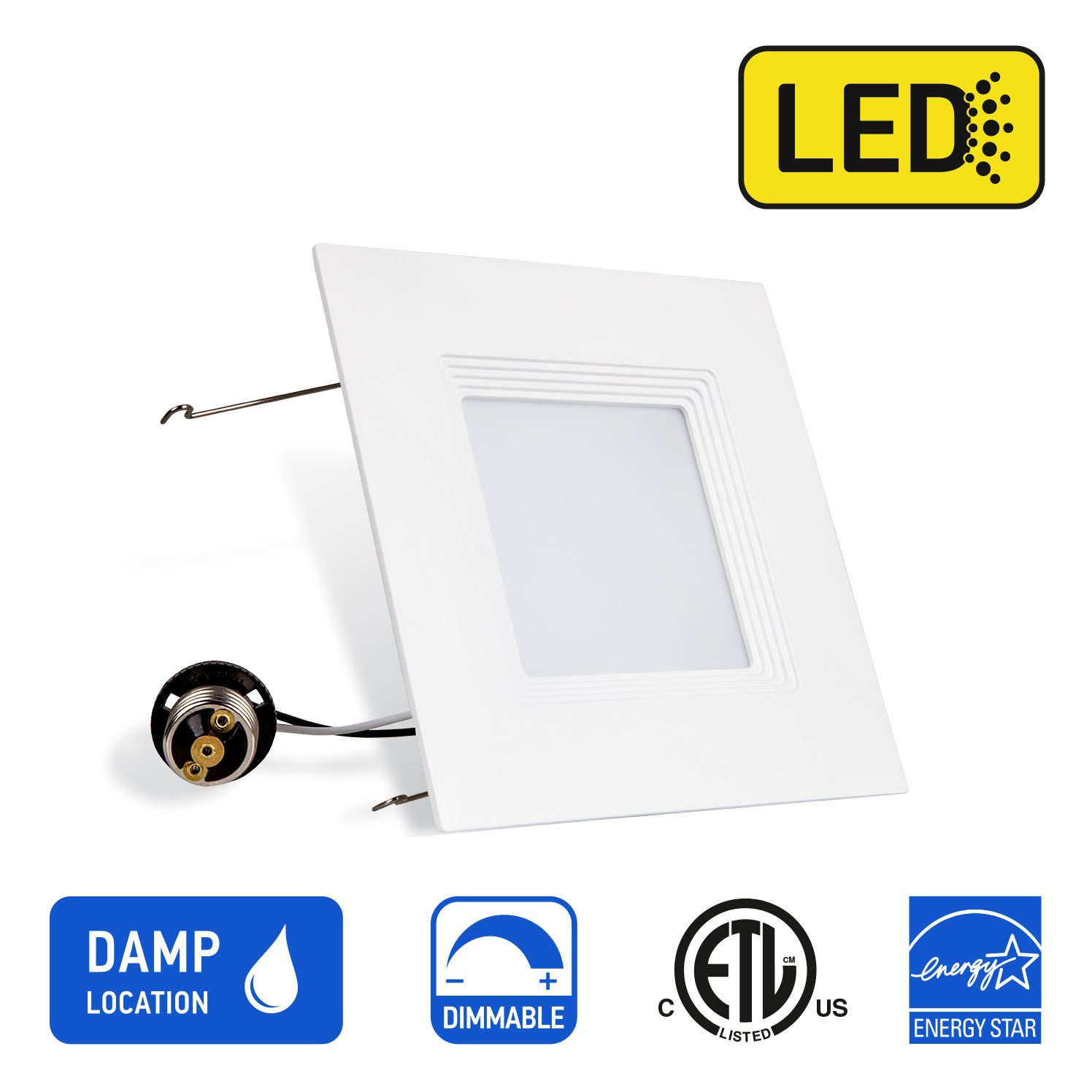 OSTWIN Recessed Lighting, Led 6-inch Can Pot Lights for Ceiling, Square Downlight Retrofit Kit Fixture, Baffle Trim, 16.5W (120 Watt), 3000K (Soft White) Dimmable, ETL & Energy Star Listed