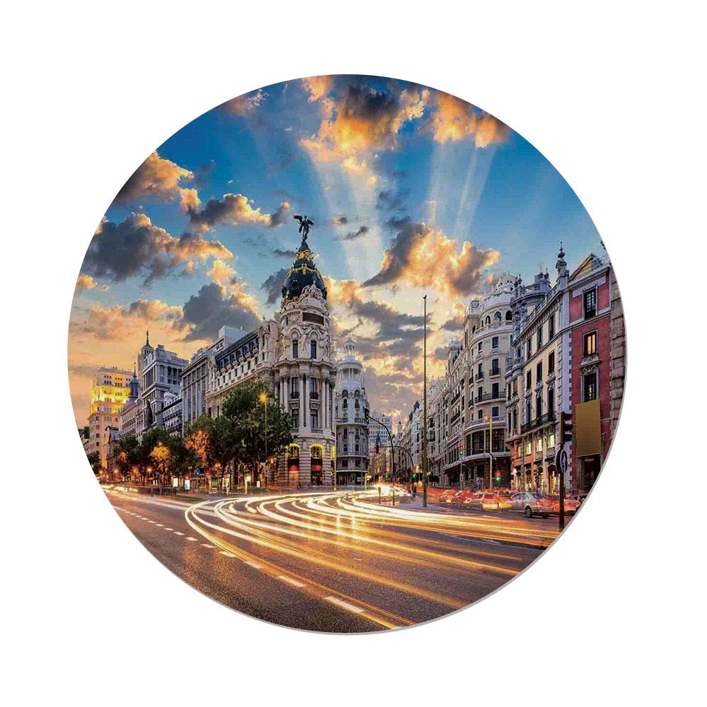 iPrint Polyester Round Tablecloth,Cityscape,View The Streets Modern Madrid Sky Landscape Big Old Town Heritage Deco,Multi,Dining Room Kitchen Picnic Table Cloth Cover Outdoor Indoor