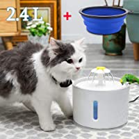FUNCUBE Pet Fountain with Water Window & Led Light, 2.4L Ultra Quiet Cat Water Fountain,Automatic Pet Water Dispenser for Cats Dogs Health Caring and Hygienic Fountain + Silicone Foldable Bowl