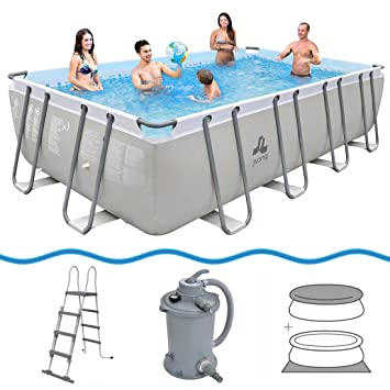 JILONG Swimming Pool Set Mistal Grey - Piscina con armazón de ...
