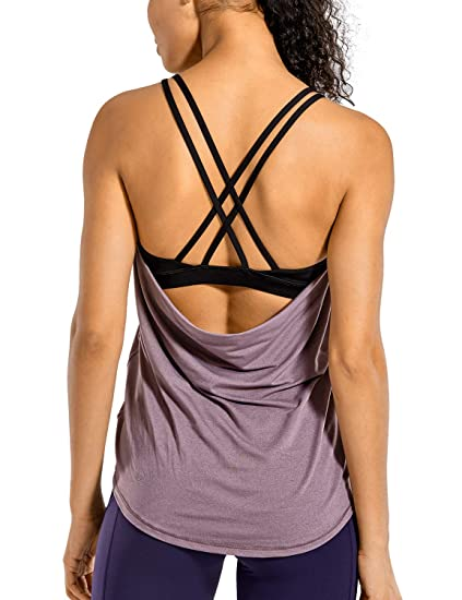 CRZ YOGA Womens Workout Tank Tops with Built in Bra Sleeveless Shirts Open Back Activewear