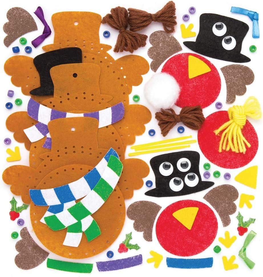 Loisirs cr/éatifs et d/écorations de No/ël pour Enfants Lot de 3 Baker Ross Kits de d/écorations /à Coudre Rouges-Gorges de No/ël