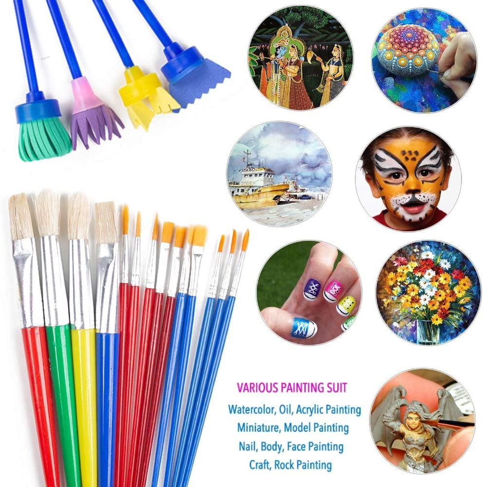 BigOtters Painting Tool Kit, 34Pcs Paint Supplies Include Paint Cups with Lids Palette Tray Multi Sizes Paint Pen Brushes Set for Kids Gifts School Prizes Art Party: Home & Kitchen