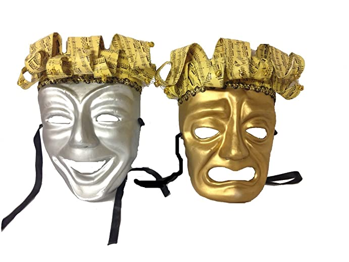Amazon.com: Paper Mache Silver Comedy & Gold Tragedy Masks with ...