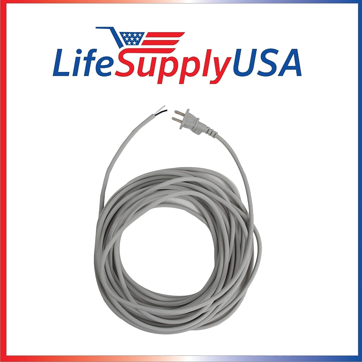 Gray 17/2 35ft Upright Vacuum Electric 12 Amp Power Supply Cord with Open End Striped Wire (35 feet) Grey