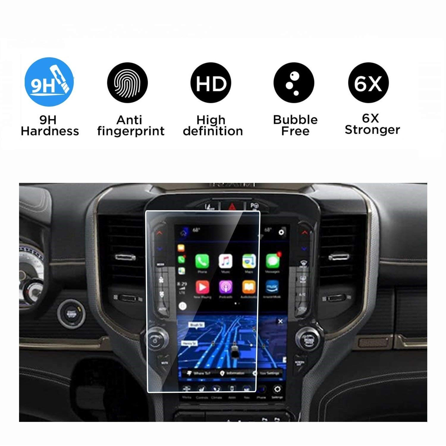 Screen Protector Compatible with 2019 Dodge Ram 1500 2500 3500 Uconnect 12 Inch Touch Screen,Flyingchan Anti Glare Scratch,Shock-Resistant, Navigation Accessories by Flyingchan
